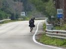 Unterwegs treffe ich auf einen Deutschen, der mit einer Hippi-Gruppe rumradelt. Einer von ihnen hatte statt Radtaschen Baumarktkoerbe an die Reifen geschnallt :-)